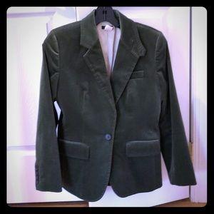 J.Crew velvet blazer, size 4 petite, Moss green